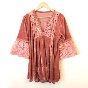Pink velvet embroidered boho swing tunic top Sz L